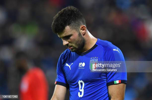 Parick Cutrone of Italy U21 reacts during the International friendly match between Italy U21 and England U21 on November 15 2018 in Ferrara Italy