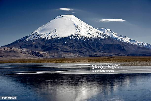 parinacota volcano with lake chungara - stratovolcano stock photos and pictures