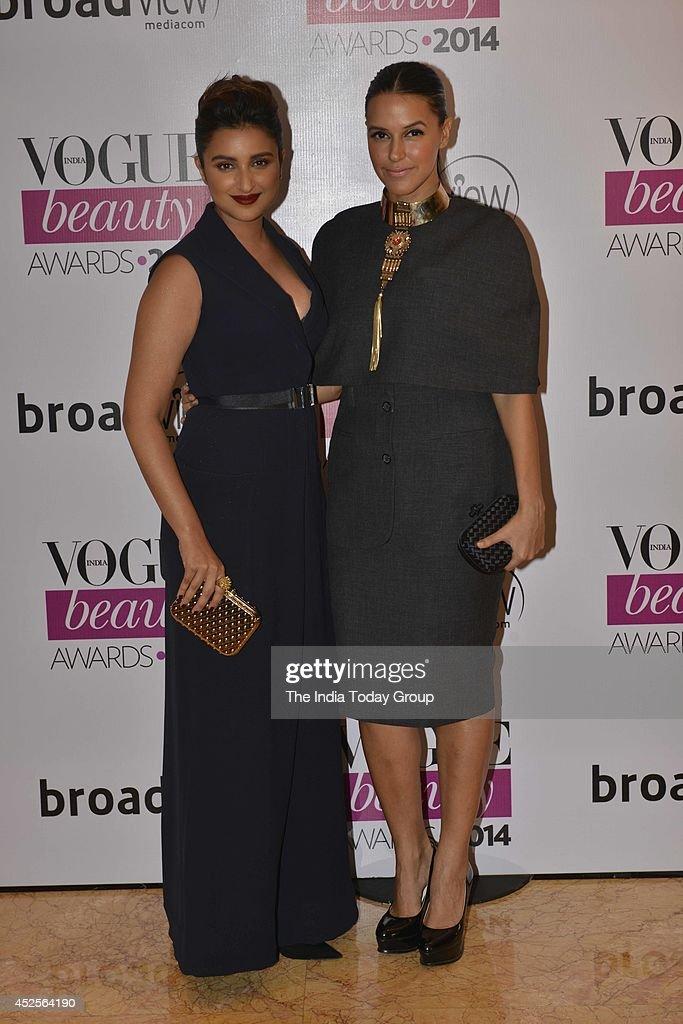 Parineeti Chopra and Neha Dhupia at Vogue Beauty Awards in Mumbai