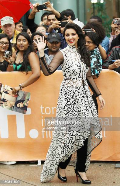 Parineeti Chopra arrives at the A Random Desi Romance premiere during the 2013 Toronto International Film Festival held at Roy Thomson Hall on...