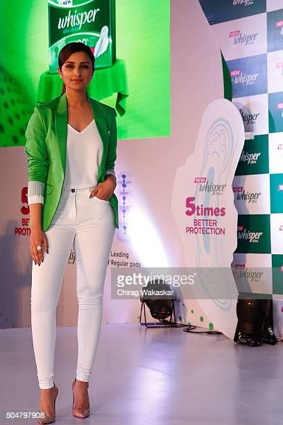 Parineeti Chopra launches New Whisper Ultra at St Regis Hotel on January 13 2016 in Mumbai India