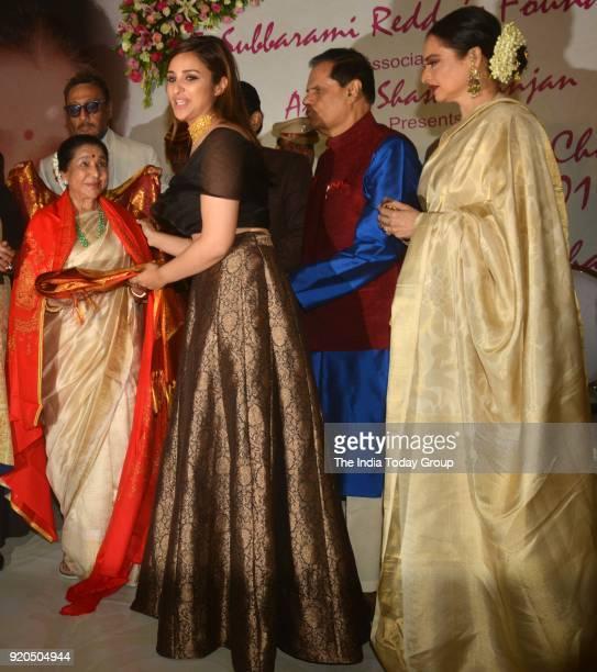 Parineeti Chopra Rekha and Asha Bhosle at the Yash Chopra Memorial Award 2018 in Mumbai