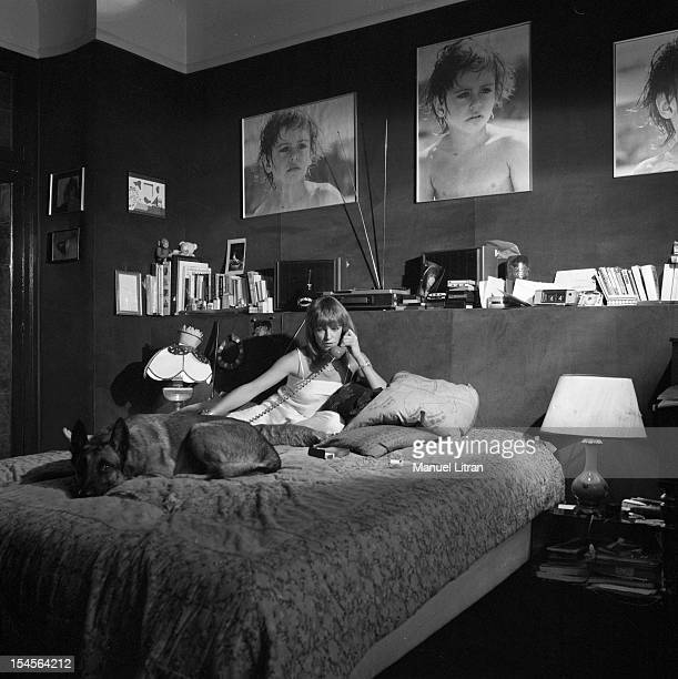 Paris 10 November 1978 the actress Nathalie Delon in his apartment In his room Nathalie Delon on his bed the telephone with his dog On the wall are...
