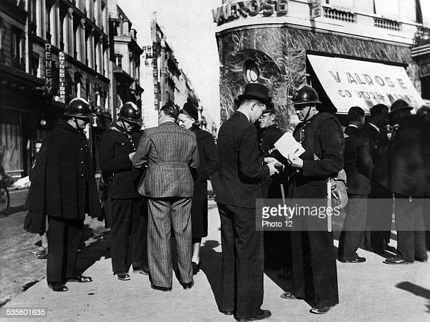 preparation with the war The police force checks papers in the street Seek spies This image is not downloadable Contact us for the high res