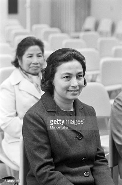 Paris 2 October 1975 visit of King Norodom Sihanouk and his wife Norodom Monineath Sihanouk in France Norodom Monineath Sihanouk seated listen to...