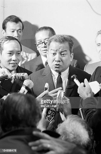 Paris 2 October 1975 visit of King Norodom Sihanouk and his wife Norodom Monineath Sihanouk in France Press Conference of the King of Cambodia on his...