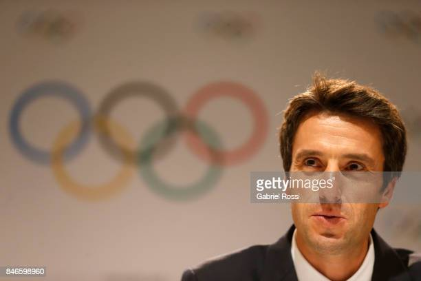 Paris 2024 Bid CoChair and 3time Olympic Champion Tony Estanguet looks on during a Paris 2024 press conference 131th IOC Session 2024 2028 Olympics...