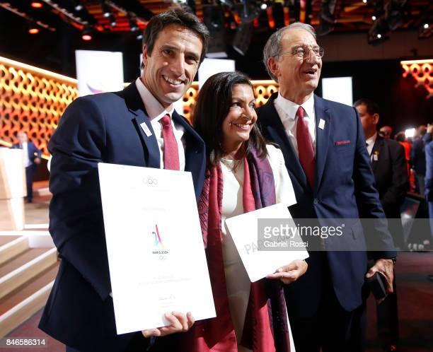 Paris 2024 Bid CoChair and 3time Olympic Champion Tony Estanguet Paris Mayor Anne Hidalgo and Comité National Olympique et Sportif Français President...
