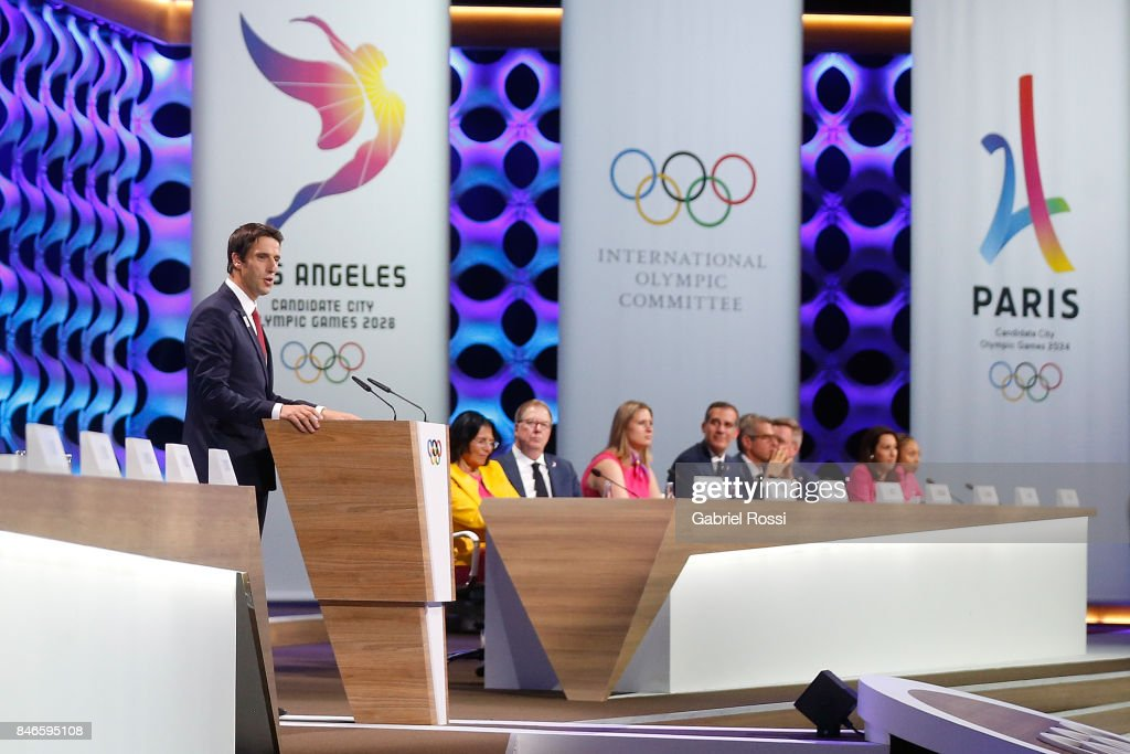 Paris 2024 Bid Co-Chair and 3-time Olympic Champion Tony Estanguet talks to the public during the Paris 2024 Presentation during his presentation during the 131th IOC Session - 2024 & 2028 Olympics Hosts Announcement at Lima Convention Centre on September 13, 2017 in Lima, Peru.