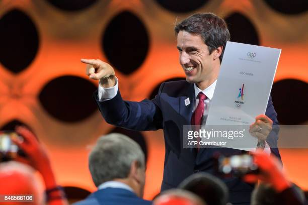 Paris 2024 bid CoChairman Tony Estanguet celebrates after the International Olympic Committee awarded the 2024 Olympics to Paris during the 131st IOC...