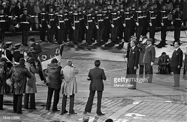 Paris, 28 November 1976, national tribute to the funerals of Andre Malraux in the Cour Carree of the Louvre, The President Valery Giscard d'Estaing...