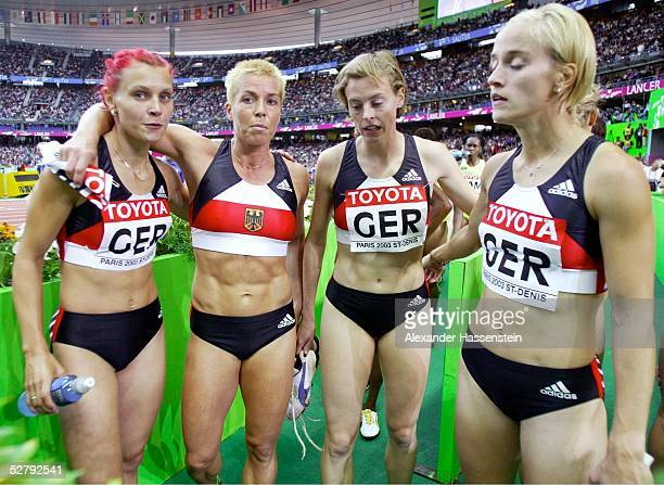 WM 2003 Paris 4 x 400 m Staffel Frauen/Finale Claudia HOFFMANN Grit BREUER Birgit ROCKMEIER Claudia MARX/GER