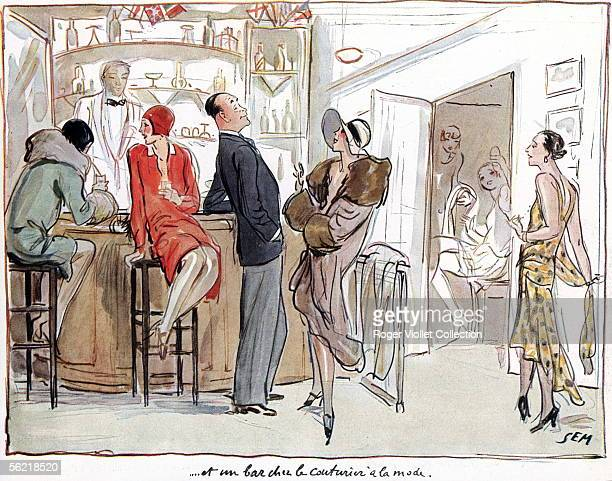 Paris 'A bar in the top designer's house' Watercolours by Sem 1928 ADAGP