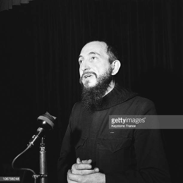 Paris Abbe Pierre Speaking At A Meeting For The Homeless In March 1957
