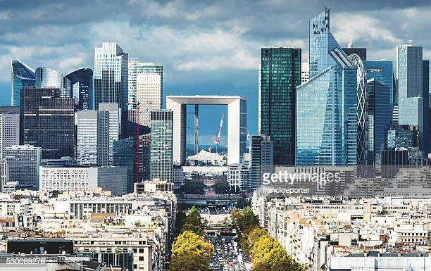 paris aerial view of la defense - paris stockfoto's en -beelden