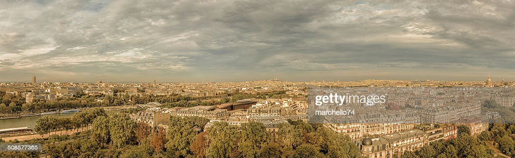 Paris aerial view panorama : Stock Photo