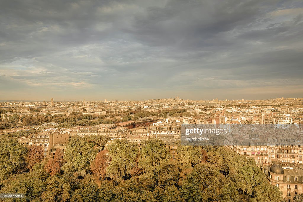 Paris aerial view : Stock Photo