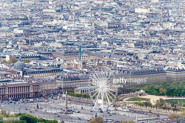 Paris aerial view,Ferris Wheel With Statue, Obelisk,Luxor,Paris,