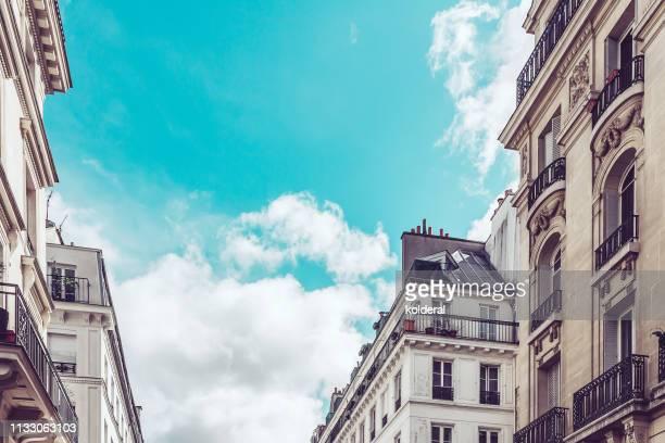 paris against blue sky - saint denis paris stock pictures, royalty-free photos & images