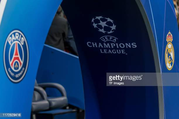 Paris and UEFA Champions League Logo are seen during the UEFA Champions League group A match between Paris SaintGermain and Real Madrid at Parc des...