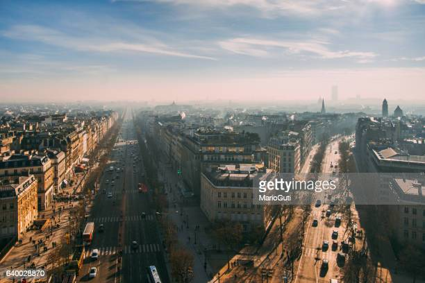 paris avenues from above - central europe stock photos and pictures