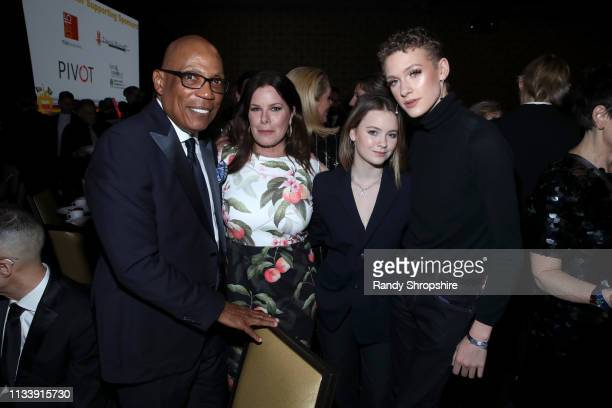 Paris Barclay Marcia Gay Harden Eulala Grace Scheel and Hudson Harden Scheel attend The Human Rights Campaign 2019 Los Angeles Gala Dinner at JW...