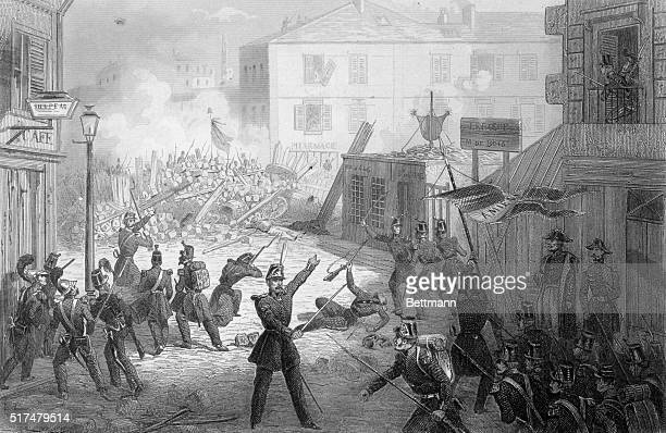 Barricaded Street During French Revolution 1848