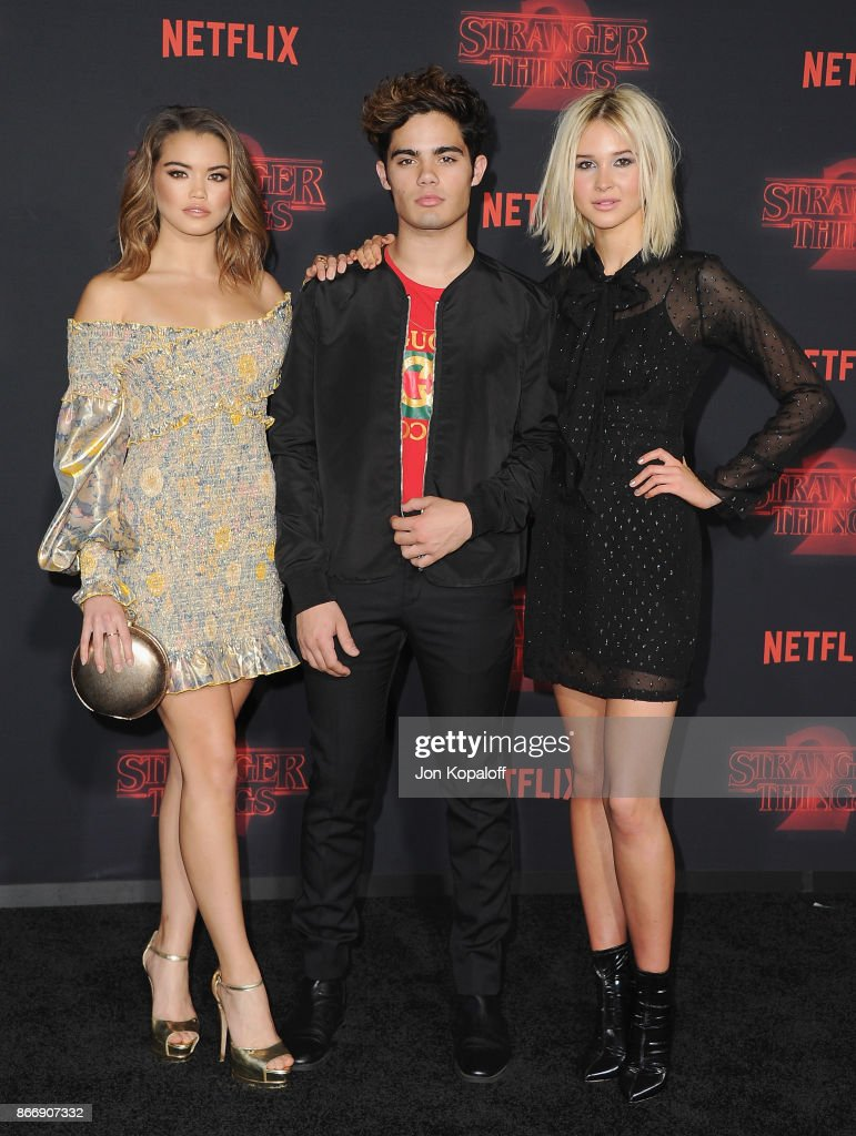 Paris Berelc, Emery Kelly, and Isabel May arrive at the premiere of Netflix's 'Stranger Things' Season 2 at Regency Bruin Theatre on October 26, 2017 in Los Angeles, California.