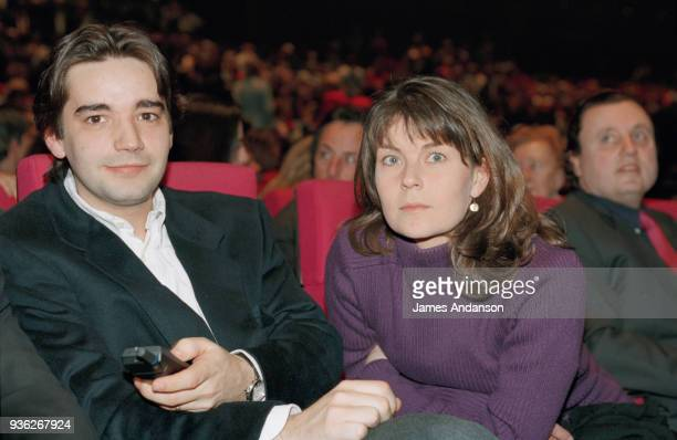 Paris Bernard Tapie 's family attend a concert of french singer JeanJacques Debout Stephane Tapie son of Bernard Tapie with his wife 8th March 1996