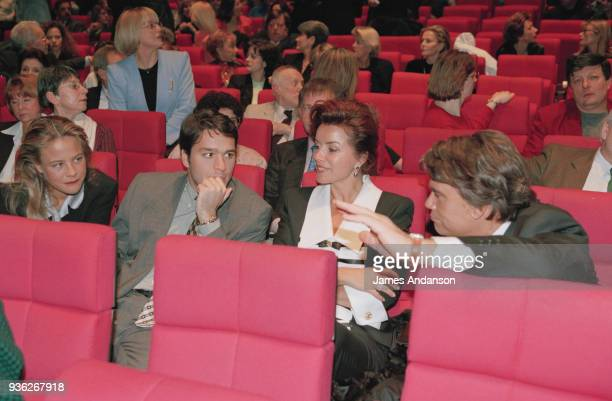 Paris Bernard Tapie 's family attends a concert of french singer JeanJacques Debout From left to right Laurent Tapie with his wife on his right...