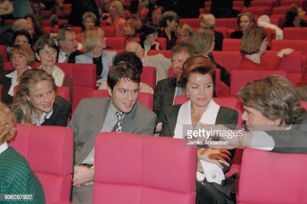 Paris - Bernard Tapie 's family attends a concert of french singer Jean-Jacques Debout. From left to right : Laurent Tapie with his wife on his...