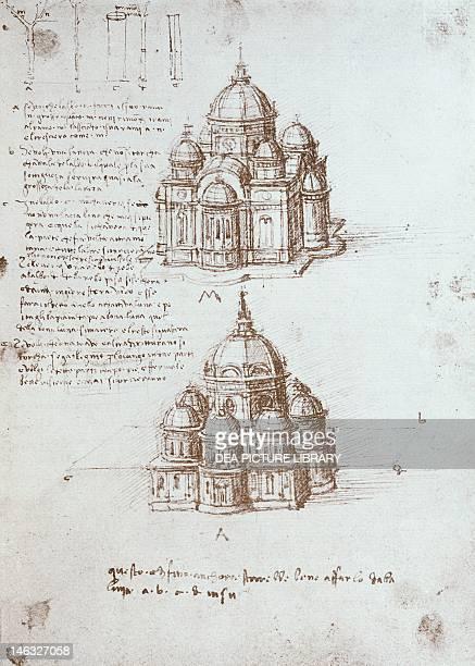 Paris Bibliothèque De L'Institut De France Church and dome on a central plan and study of proportional relationships by Leonardo da Vinci drawing...