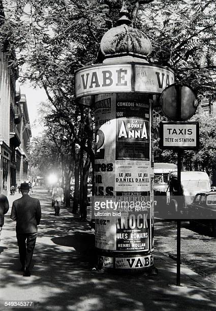 Paris Boulevard StGermain with advertising column