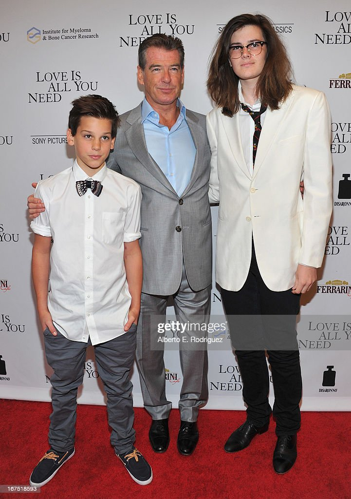 Paris Brosnan, actor Pierce Brosnan and Dylan Brosnan arrive to the premiere of Sony Pictures Classics' 'Love Is All You Need' at Linwood Dunn Theater at the Pickford Center for Motion Study on April 25, 2013 in Hollywood, California.
