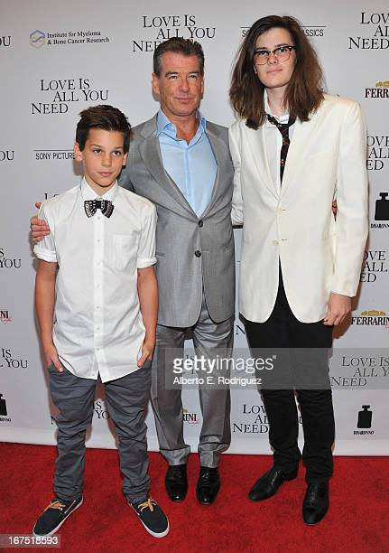 """Paris Brosnan, actor Pierce Brosnan and Dylan Brosnan arrive to the premiere of Sony Pictures Classics' """"Love Is All You Need"""" at Linwood Dunn..."""