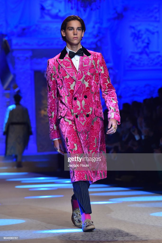 Paris Brosnan walks the runway at the Dolce & Gabbana show during Milan Men's Fashion Week Fall/Winter 2018/19 on January 13, 2018 in Milan, Italy.