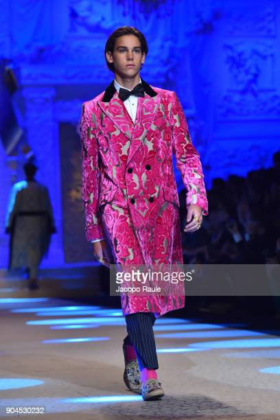 Paris Brosnan walks the runway at the Dolce Gabbana show during Milan Men's Fashion Week Fall/Winter 2018/19 on January 13 2018 in Milan Italy