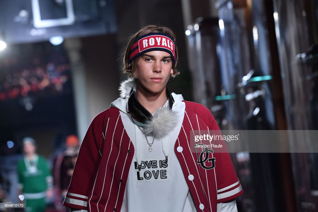 Paris Brosnan walks the runway at the Dolce & Gabbana Unexpected Show show during Milan Men's Fashion Week Fall/Winter 2018/19 on January 13, 2018 in Milan, Italy.
