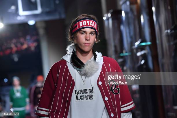 Paris Brosnan walks the runway at the Dolce Gabbana Unexpected Show show during Milan Men's Fashion Week Fall/Winter 2018/19 on January 13 2018 in...