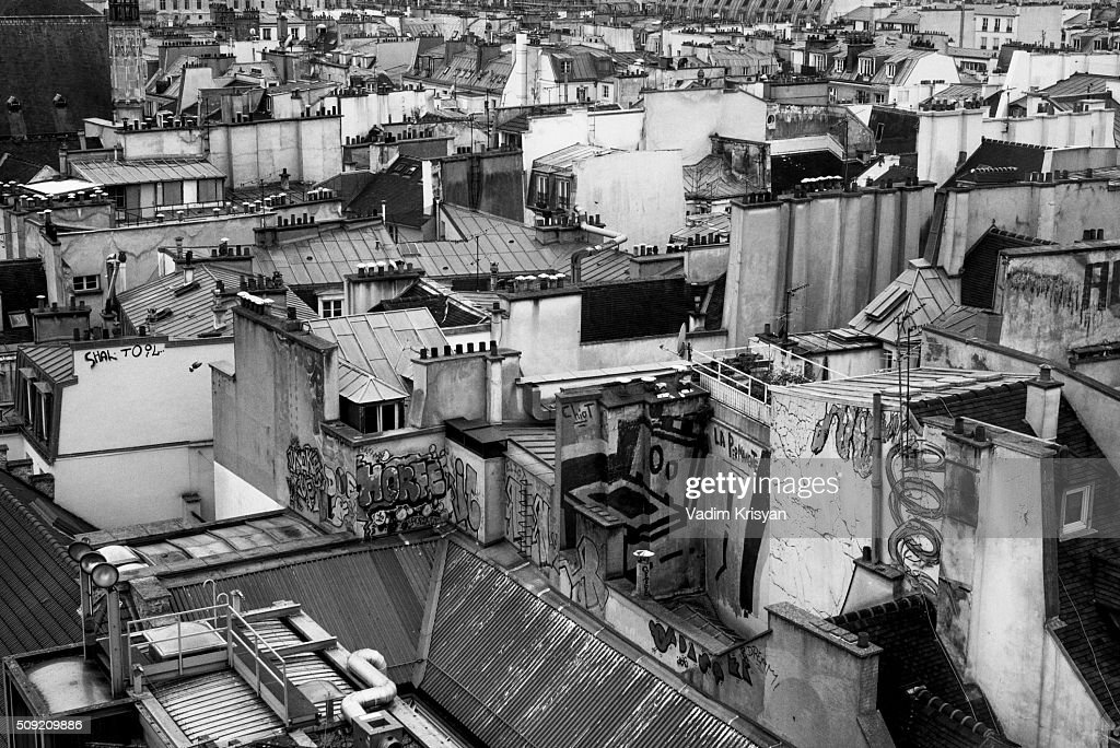 Paris buildings' Roof in black & white : Stock Photo