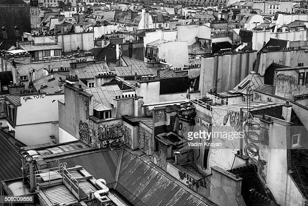 Paris buildings' Roof in black & white