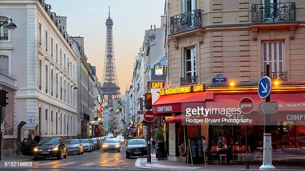 Paris cafe with Eiffel Tower in the background