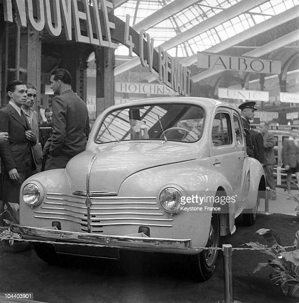 Paris Car Show The RENAULT 4CV is presented to the public its engine has 3 gears its maximum speed is 90km/hour its consumption is 3 litres per 100...