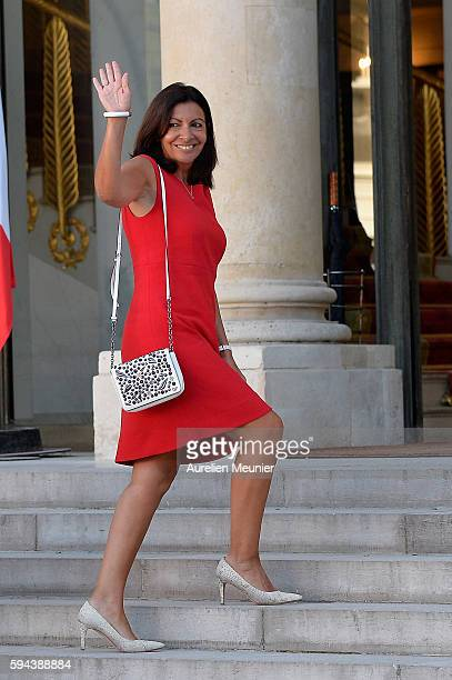Paris City Mayor Anne Hidalgo arrives to the Elysee Palace for a cocktail reception given by French President Francois Hollande in honor of the...
