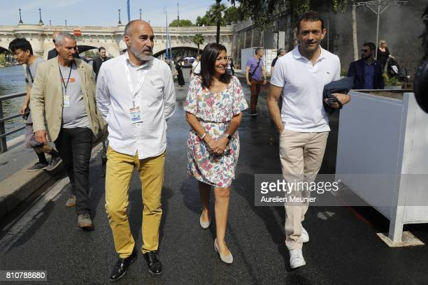 Paris city Mayor Anne Hidalgo inaugurates Paris Plage on July 8 2017 in Paris France Paris Plage opens annually to the public along the Seine and is...
