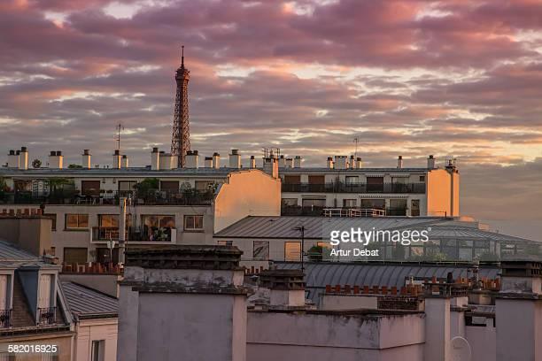 Paris city sunrise with Eiffel Tower