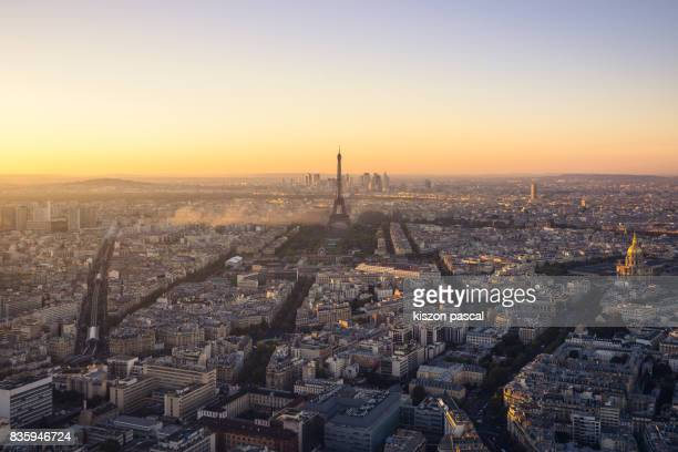 Paris city view with Eiffel Tower at sunset ( France )