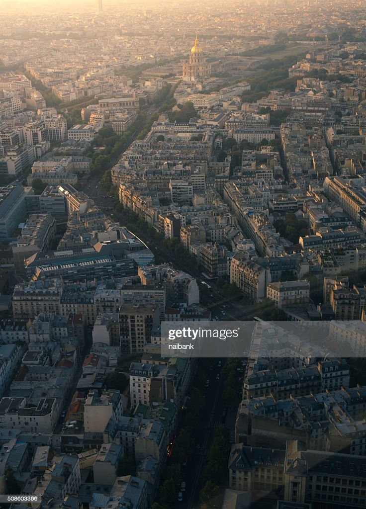 Paris cityscape at Dôme des Invalides : Foto de stock