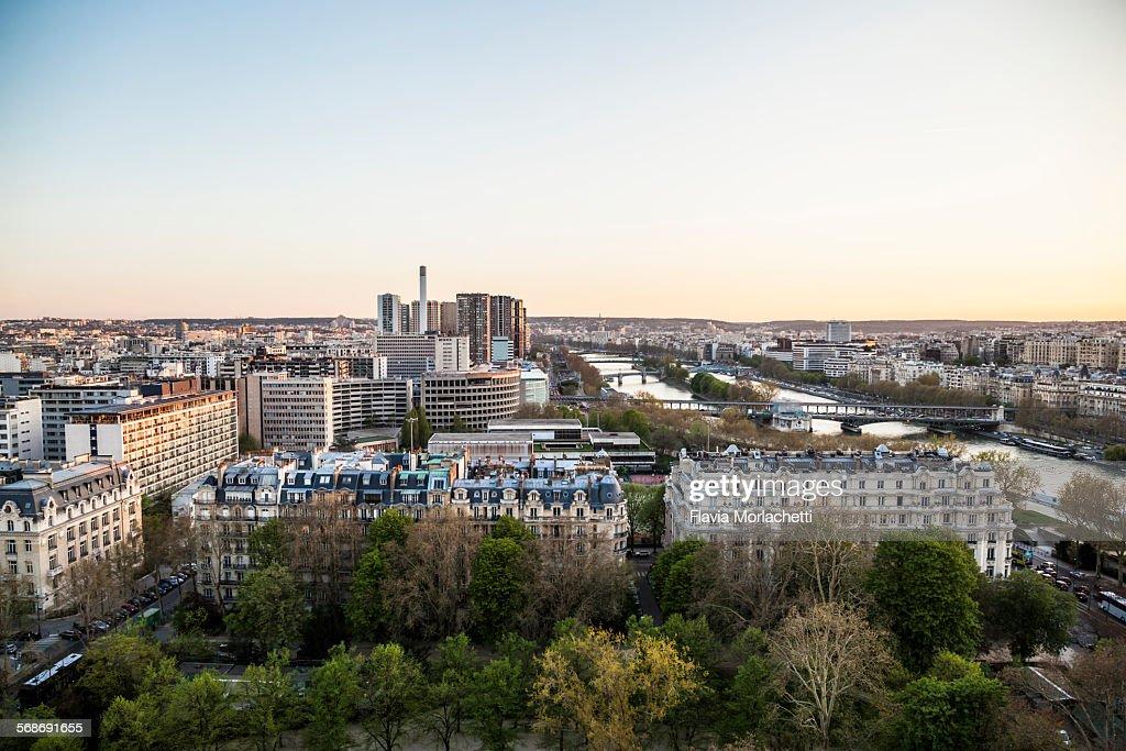 Paris cityscape at sunset : Stock Photo