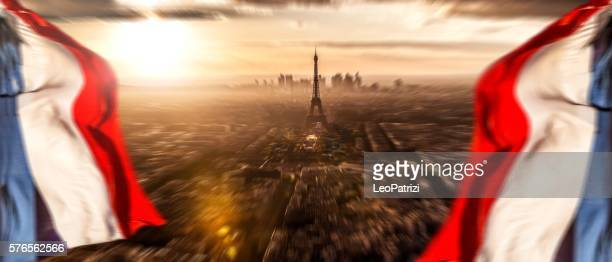 Paris cityscape seen from an aerial point of view
